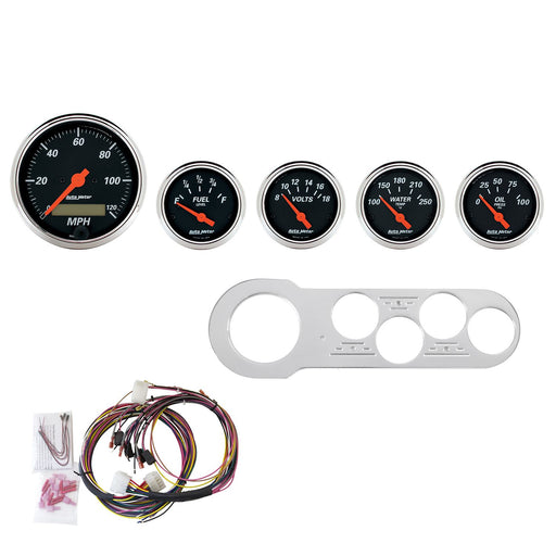 AutoMeter 5 Gauge Direct-Fit Dash Kit, Chevy Car 53-54, Designer Black