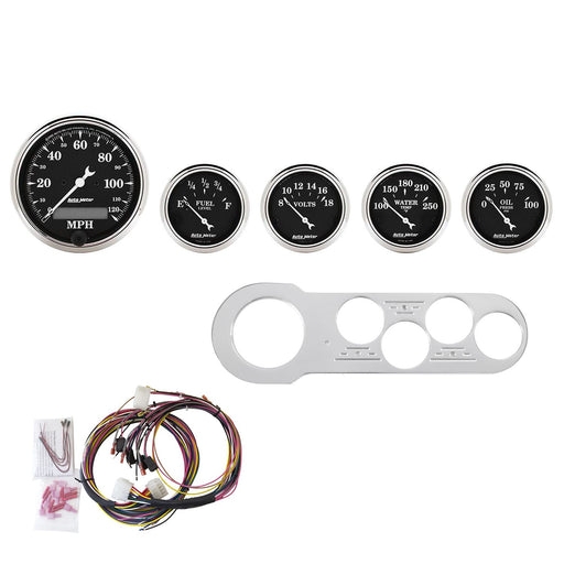 AutoMeter 5 Gauge Direct-Fit Dash Kit, Chevy Car 53-54, Old Tyme Black