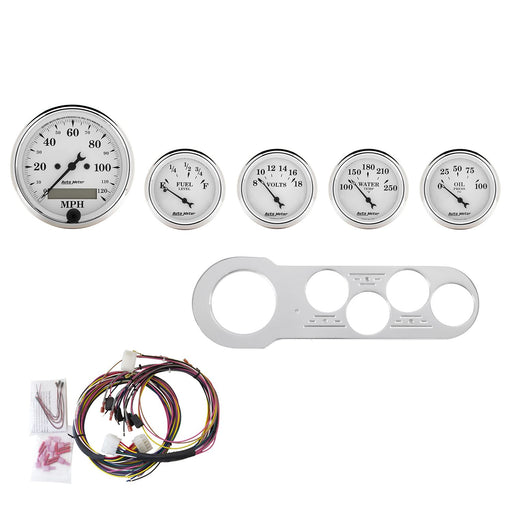 AutoMeter 5 Gauge Direct-Fit Dash Kit, Chevy Car 53-54, Old Tyme White