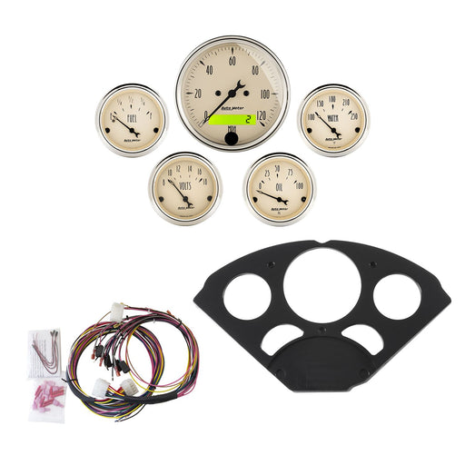 AutoMeter 5 Gauge Direct-Fit Dash Kit, Chevy 55-56, Antique Beige