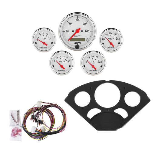 AutoMeter 5 Gauge Direct-Fit Dash Kit, Chevy 55-56, Arctic White