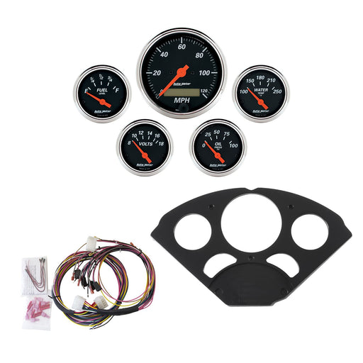 AutoMeter 5 Gauge Direct-Fit Dash Kit, Chevy 55-56, Designer Black