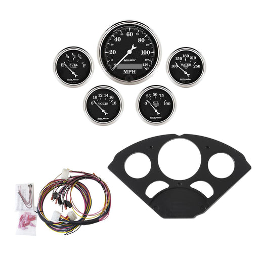 AutoMeter 5 Gauge Direct-Fit Dash Kit, Chevy 55-56, Old Tyme Black