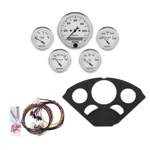 AutoMeter 5 Gauge Direct-Fit Dash Kit, Chevy 55-56, Old Tyme White