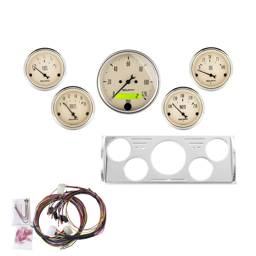 AutoMeter 5 Gauge Direct-Fit Dash Kit, Chevy Truck 40-46, Antique Beige