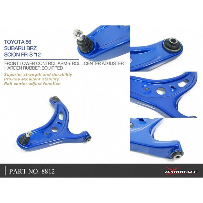 Hard Race Front Lower Control Arm + Roll Center Adjuster Subaru, Toyota, 86, Brz, Fr-S, Zc 6, Zn6, Ft86/Fr-S Zn6/Zc6