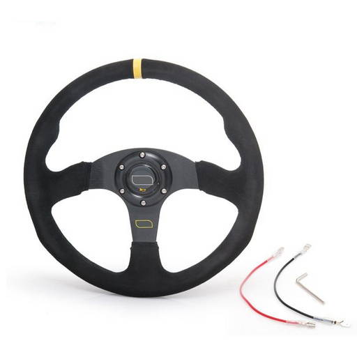 EPMAN Suede Steering Wheel - 350mm Flat-Steering Wheels-Speed Science