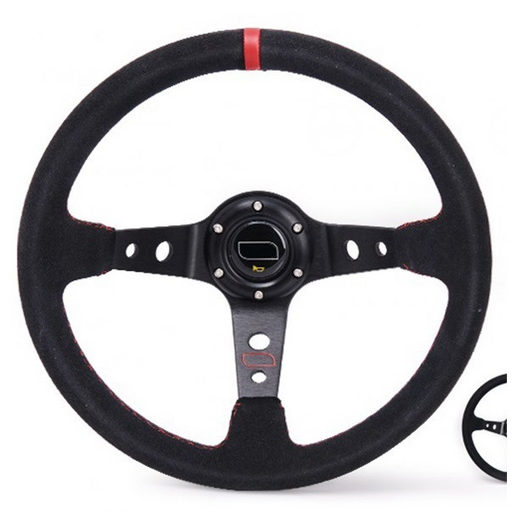 EPMAN Suede Steering Wheel - 350mm Dish-Steering Wheels-Speed Science