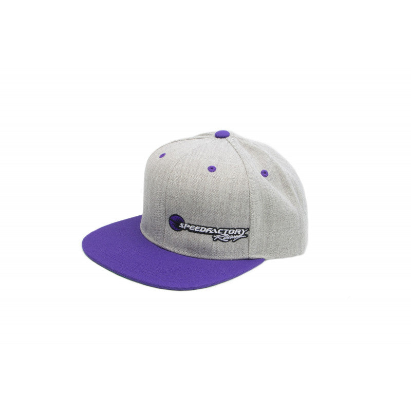 SpeedFactory Racing Logo Snap Back Hats-Purple Bill / Heather Grey Cap