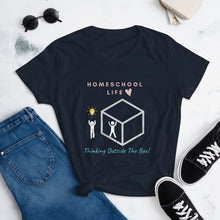 Load image into Gallery viewer, Think Outside The Box Homeschool Life Women's short sleeve t-shirt - Clove And Lime Design Shoppe