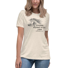 Load image into Gallery viewer, Victory Belongs To The Lord Women's Relaxed T-Shirt - Clove And Lime Design Shoppe
