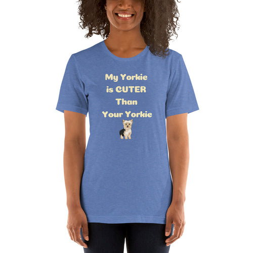 My Yorkie Is Cuter Than Your Yorkie Women's Relaxed Short-Sleeve T-Shirt Lighter Colors - Clove And Lime Design Shoppe