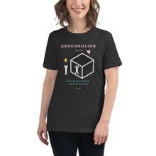 "Load image into Gallery viewer, Unschooling ""Outside the Box"" Women's Relaxed T-Shirt - Clove And Lime Design Shoppe"