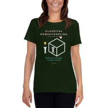 "Load image into Gallery viewer, Classical Conversations Homeschool ""Thinking Outside The Box"" T-shirt - CC - Clove And Lime Design Shoppe"