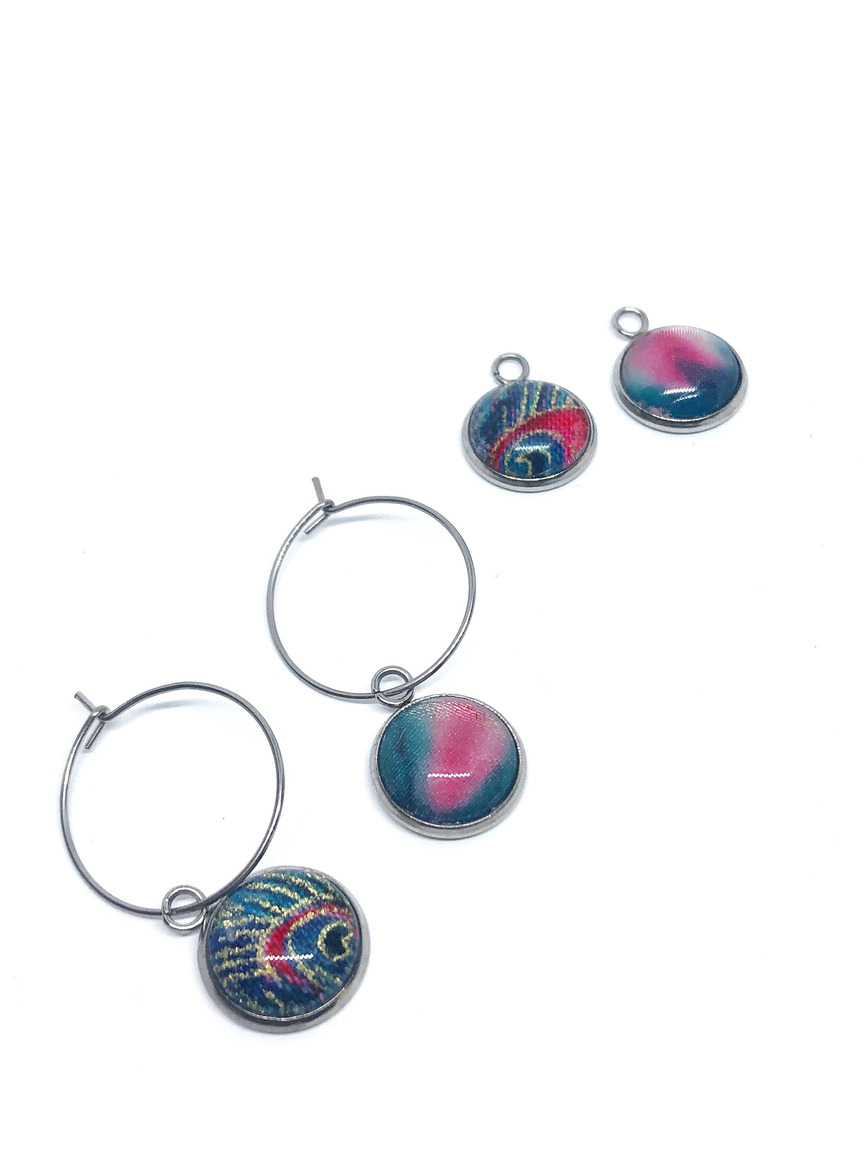 Interchangable charm hoops- 2 pairs in one- Peacock