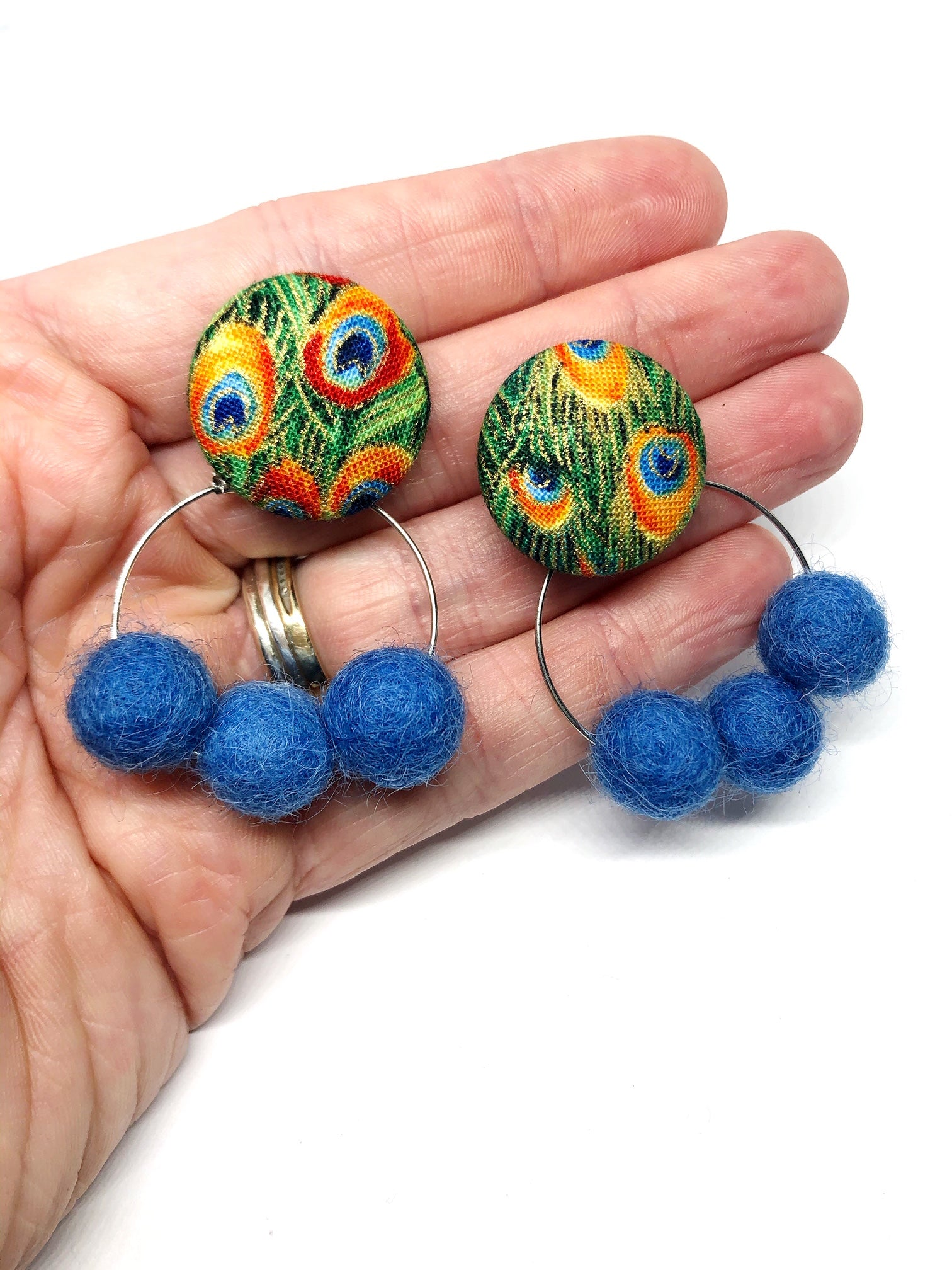 Peacock Feather Pom Poms