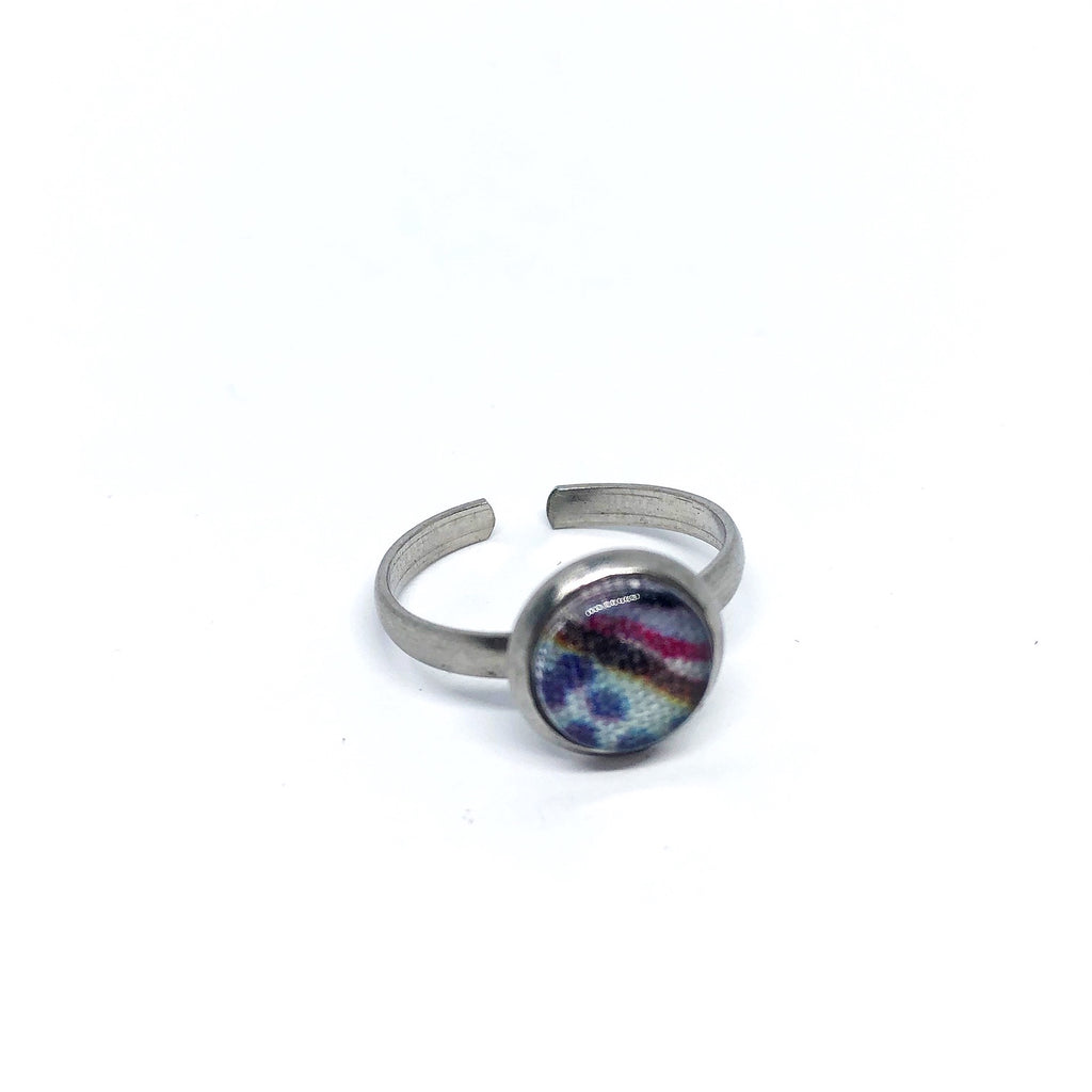 8mm blue blossom adjustable ring