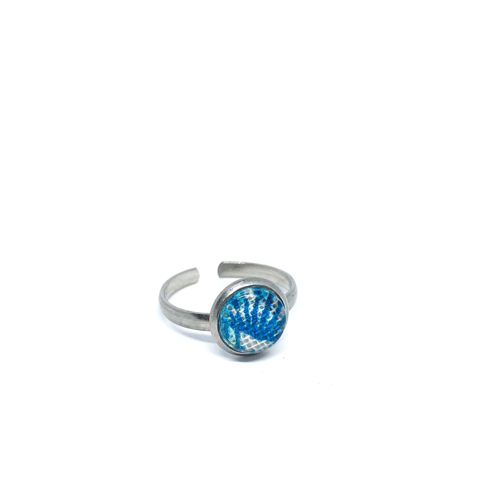 8mm Turquoise fern adjustable ring