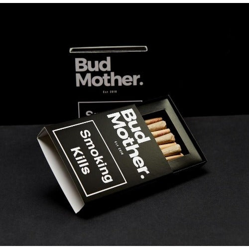 picture of BudMother CBD Hemp pre-roll box in black with white text.