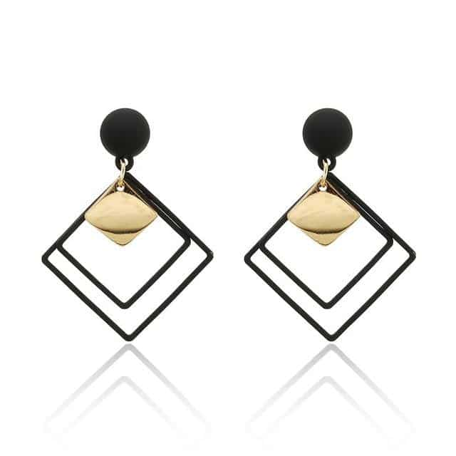 Black and Gold Acrylic Geometric Earrings - Your Own Unique