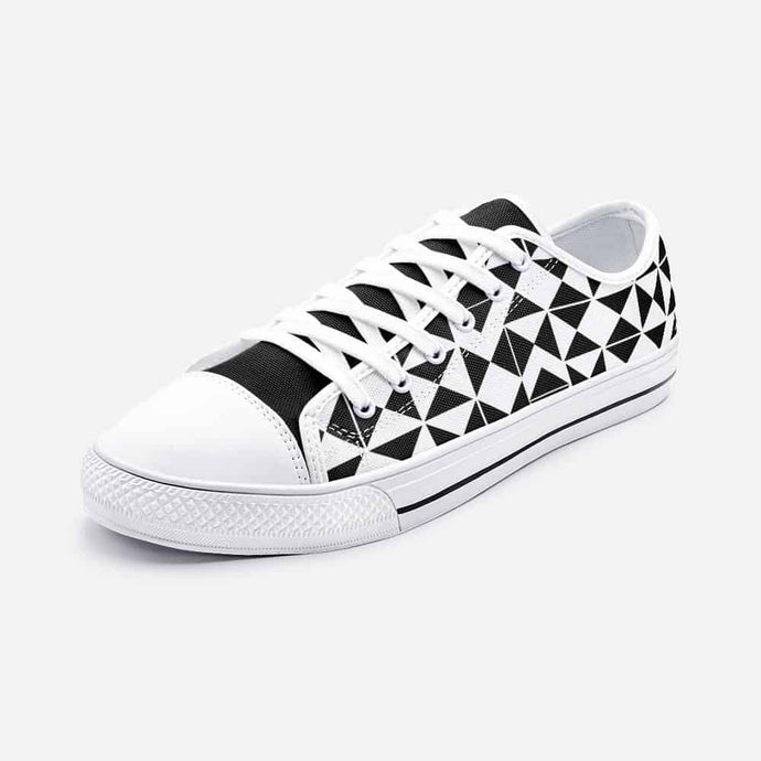 Checkered Black & White Unisex Low Top Sneakers - Your Own Unique