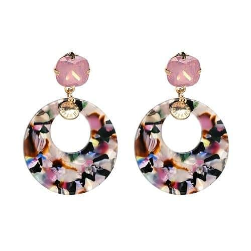 Colorful Marble Big Rround Statement Earrings - Your Own Unique
