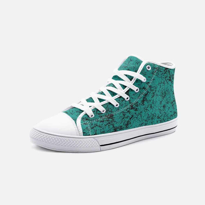 Distressed Teal Unisex High Top Sneakers - Your Own Unique