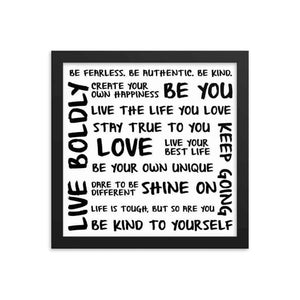 Self Love Framed Art Print - Your Own Unique