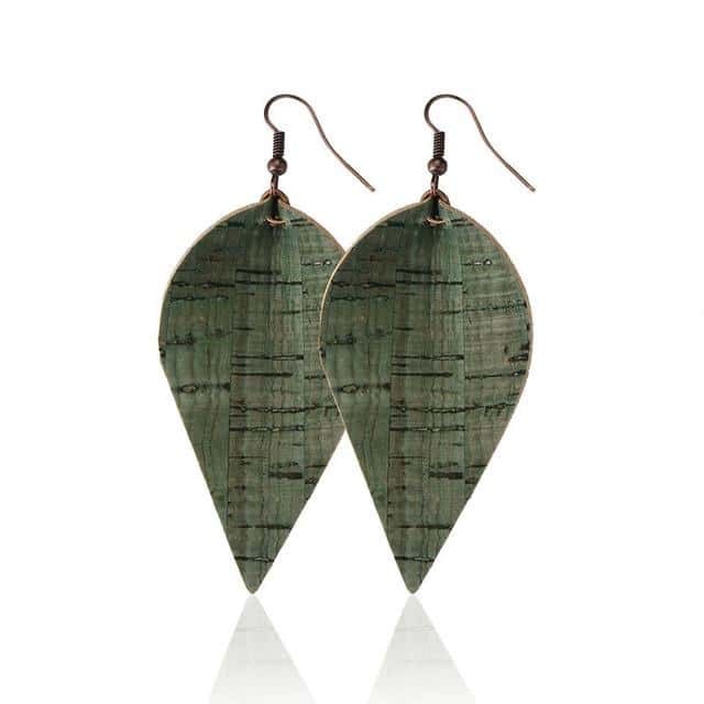 Wood Grain PU Leather Leaf Earrings - Your Own Unique