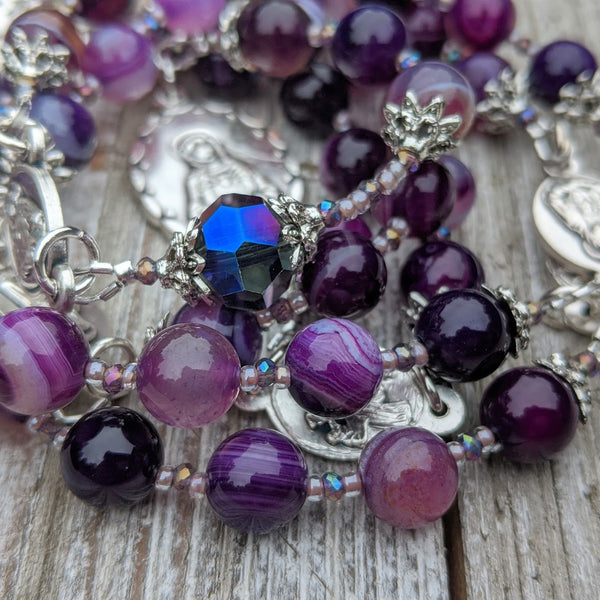 Our Lady of Sorrows Servite Rosary - Purple Agate & Silver Tone