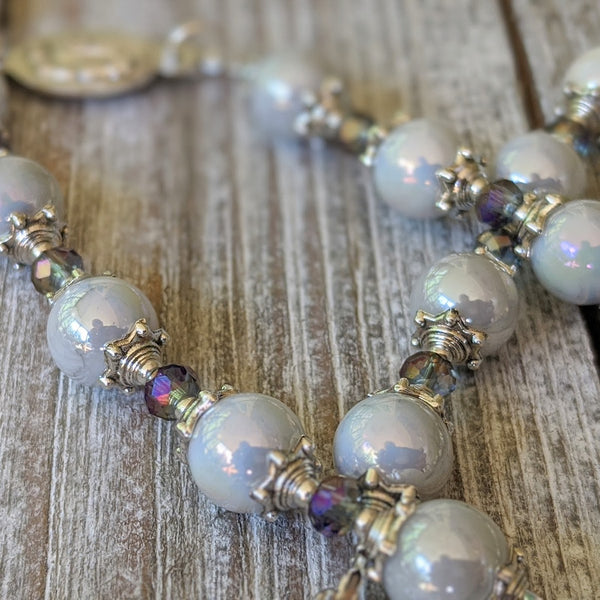 Our Lady of Sorrows Servite Rosary - Iridescent glass pearl