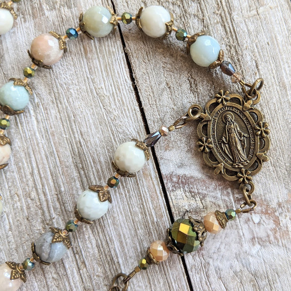 Miraculous Medal - Polished Amazonite semi-precious stone 5 decade Rosary