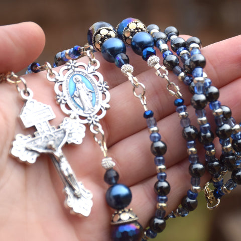 Hematite blue & silver toned Miraculous Medal 5 decade Rosary