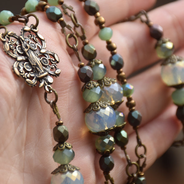 Custom Design - Iridescent green glass & Bronze 5 decade Rosary