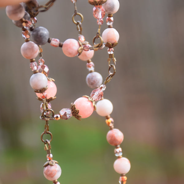 Art Nouveau Jasper, Rose Quartz & true bronze 5 decade Rosary