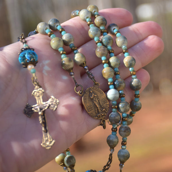 Stella Maris natural & iridescent faceted glass & true bronze 5 decade Rosary