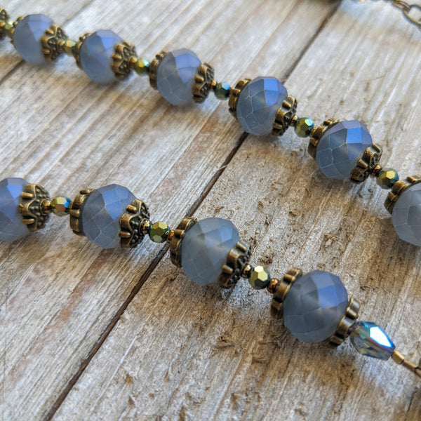 ARCHANGEL MICHAEL blue faceted pearlescent glass bronze 5 decade Rosary