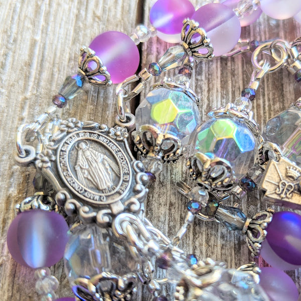 Miraculous Medal colorful opalescent mermaid glass 5 decade Rosary