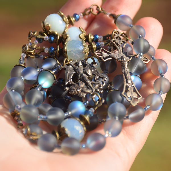 ARCHANGEL MICHAEL pearlescent glass & true bronze 5 decade Rosary
