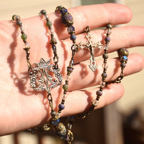 MIRACULOUS iridescent Lava Bead, Czech glass & true bronze 5 decade Rosary