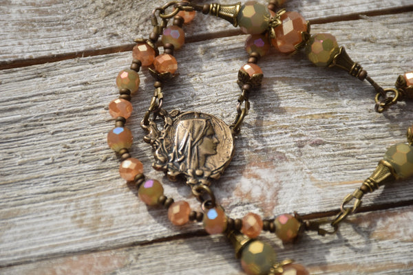 AVE MARIA Czech glass & true bronze 5 decade Rosary