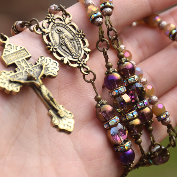 Iridescent Violet & Gold Glass Miraculous Medal 5 decade Rosary