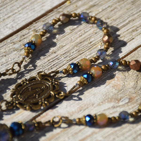 Celestial- Deep iridescent blues and golds - decade Rosary