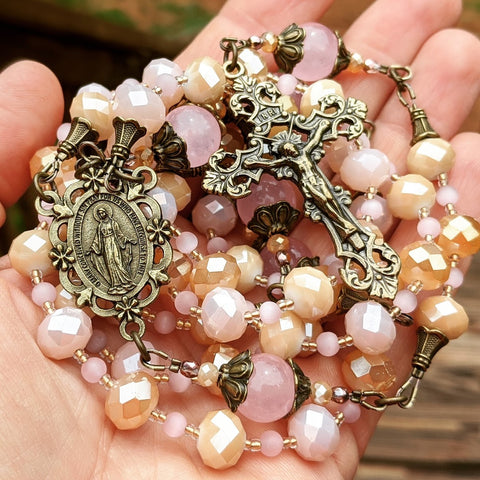 Rose & Gold Miraculous Medal 5 decade Rosary