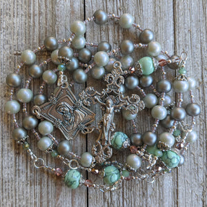 Soft green glass pearl Silver toned 5 decade Rosary