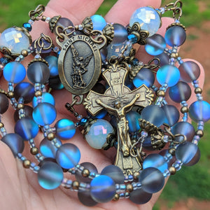 ARCHANGEL MICHAEL pearlescent glass  5 decade Rosary