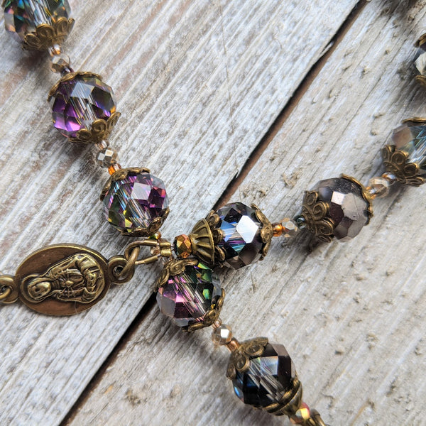 Our Lady of Sorrows Servite Rosary - Bronze tone, Smoky Iridescent Faceted Glass