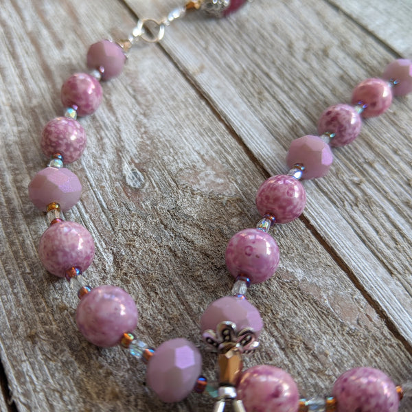 Madonna & Child Violet glass & silver tone 5 decade Rosary