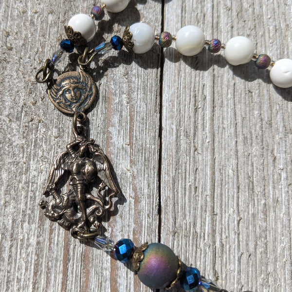 CUSTOM LISTING FOR NICOLE - Miraculous Medal Druzy Agate, White Aura Bead 5 decade Rosary