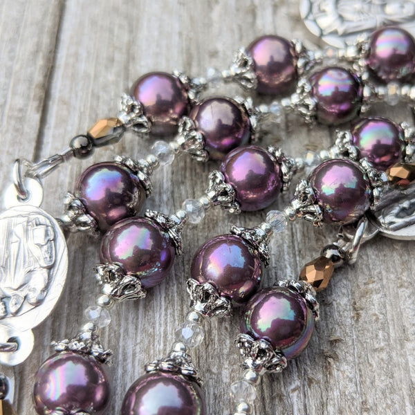 Our Lady of Sorrows Servite Rosary - Iridescent violet pearl & silver tone